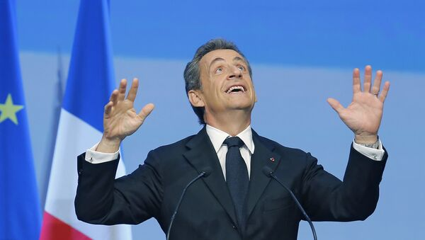 French Former President Nicolas Sarkozy reacts during the meeting of Conservative Republicans at the launch of the campaign for regional elections in Nogent-sur-Marne, outside Paris, Sunday, Sept. - Sputnik International