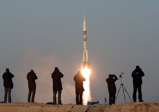 The launch of a Soyuz-FG rocket with the Soyuz TMA-19M manned spacecraft from the Baikonur Space Center