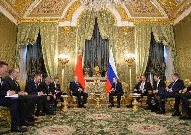 Russian President Vladimir Putin holds Russian-Belarusian talks