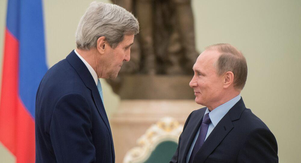 Russian President Vladimir Putin, right, and US Secretary of State John Kerry.