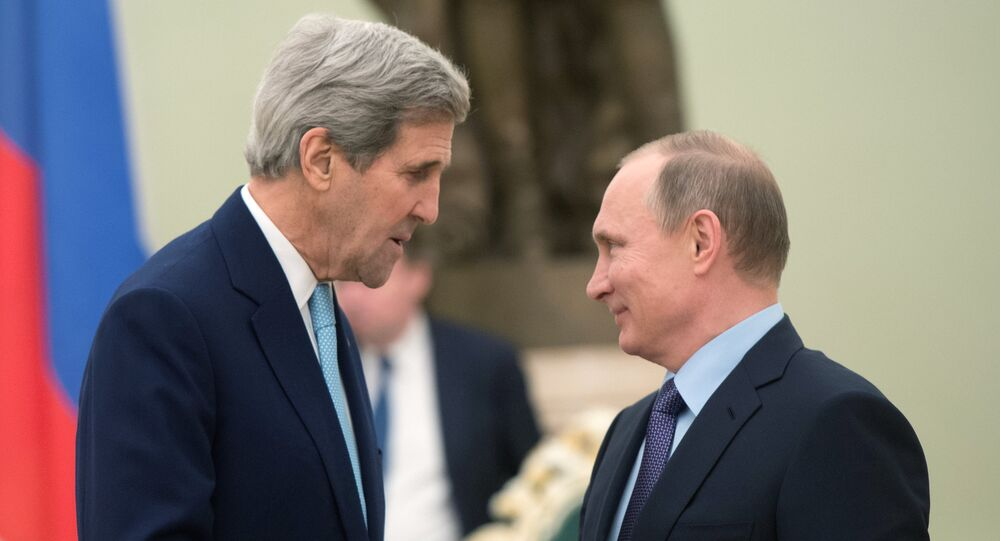 Russian President Vladimir Putin, right, and US Secretary of State John Kerry during a meeting in the Kremlin