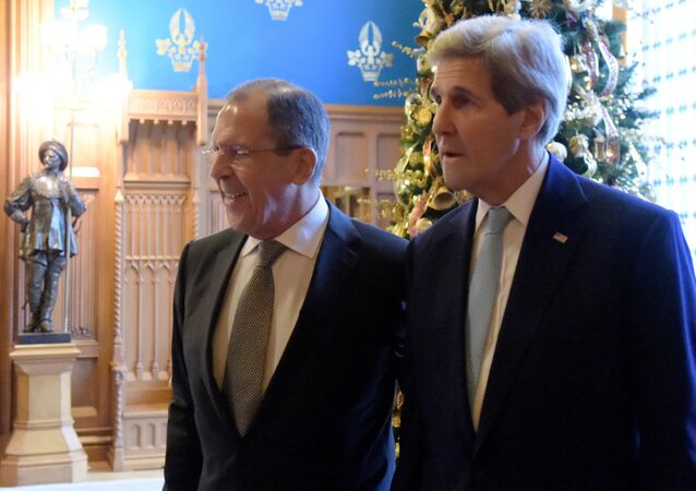 Russian Foreign Minister Sergey Lavrov meets with US Secretary of State John Kerry