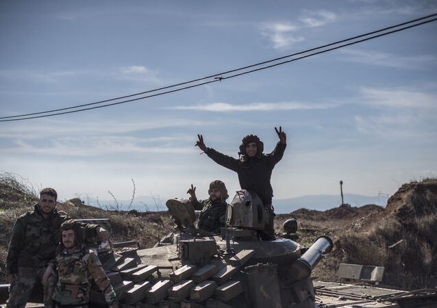 Soldiers of the Syrian Arab Army at the frontline in the al-Kom village of the Quneitra province in Syria