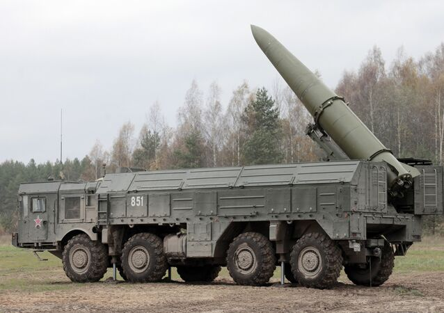 The Russian Iskander SRBM system being prepped for launch during military exercises. File photo.
