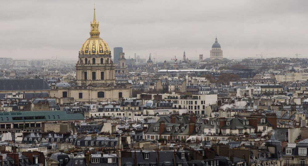 This picture taken on November 20, 2015 shows an aerial view of buildings, the dome of Les Invalides' chapel and the Pantheon in Paris