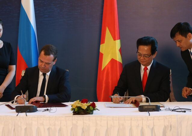May 29, 2015. Prime Minister Dmitry Medvedev (second left) and Prime Minister of Vietnam Nguyen Tan Dung (second right) during the signing of a free trade agreement between the Eurasian Economic Union and the Socialist Republic of Vietnam