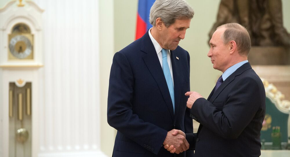 President Vladimir Putin meets with US Secretary of State John Kerry