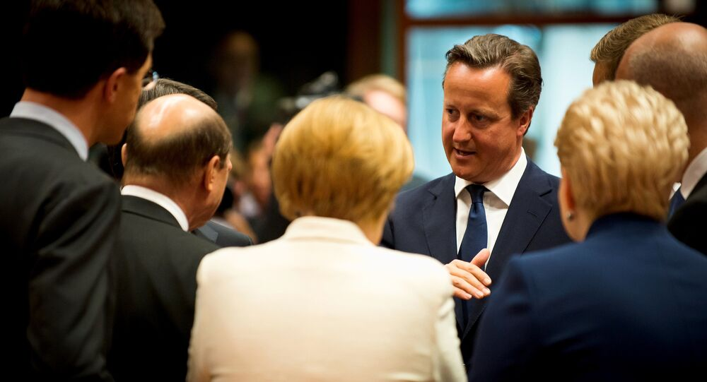 UK PM David Cameron at the EU Council Tour de Table in Brussels.