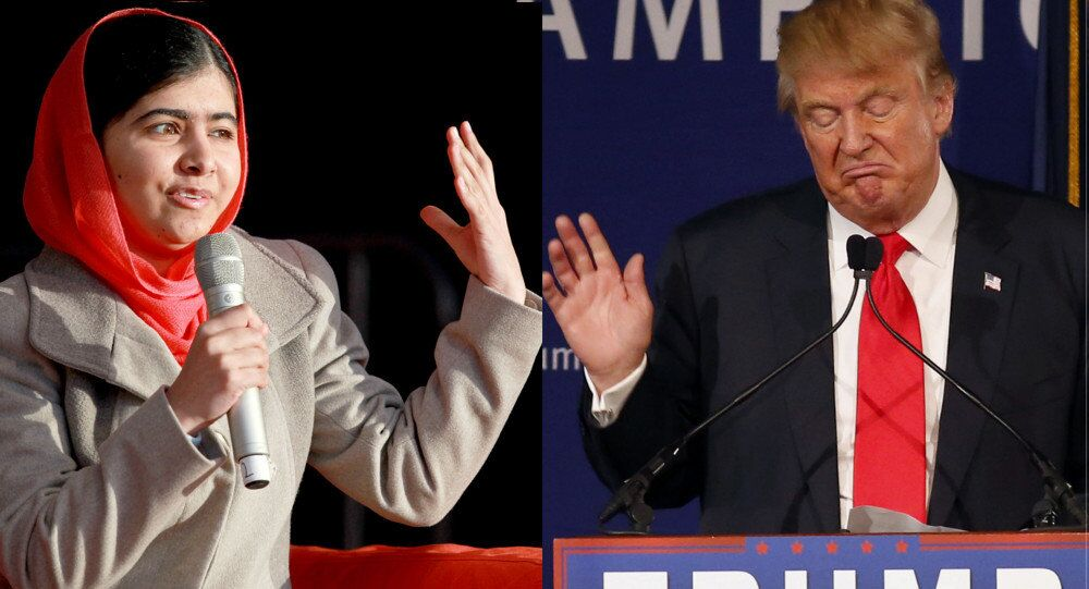 Nobel Peace Prize winner Malala Yousafzai (left) and US Republican Presidential candidate Donald Trump (right)