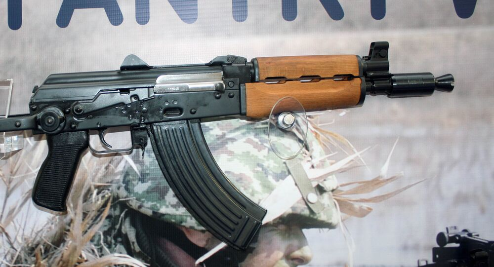 Zastava M92 semi automatic rifle on display at Partner 2011 military fair.