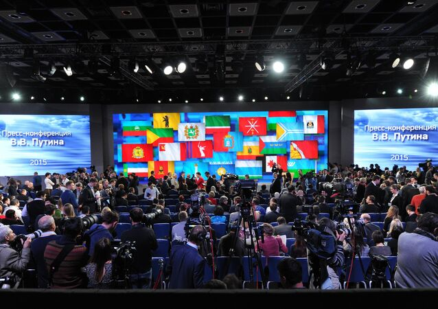 December 17, 2015. Journalists before the annual news conference with Russian President Vladimir Putin at the World Trade Center on Krasnaya Presnya