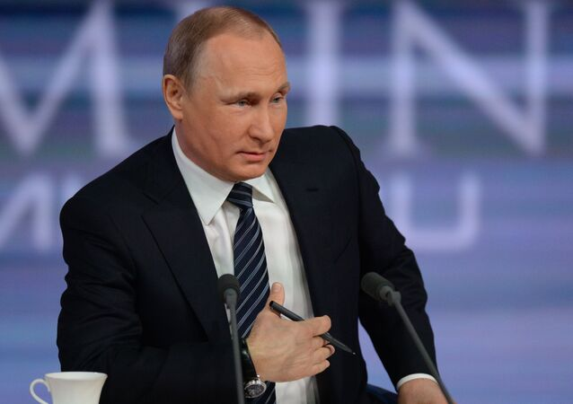 In this December 17, 2015 foto Russian President Vladimir Putin is at the 11th annual news conference at the World Trade Center on Krasnaya Presnya
