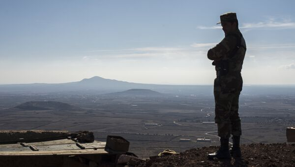 A soldier of the Syrian Arab Army at an observation post at the frontline in the al-Kom village of the Quneitra province in Syria - Sputnik International