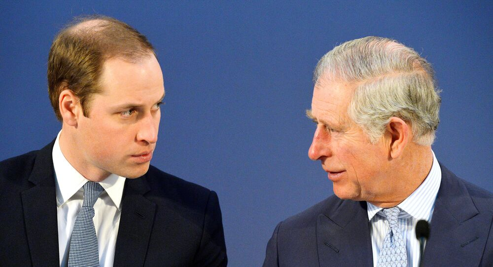 Britain's Prince William, left and Prince Charles, talk, during the Illegal Wildlife Trade Conference held in London, Thursday Feb. 13, 2014.