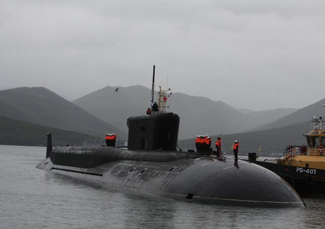 The Alexander Nevsky nuclear submarine crew at a welcome ceremony for the navy's new Borei-class project 955 vessel at the Kamchatka's Vilyuchinsk permanent base