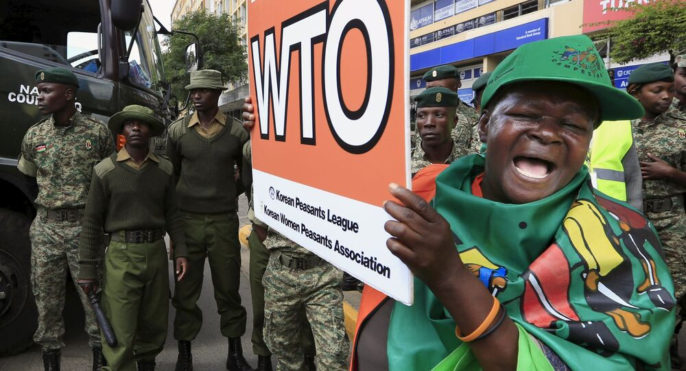 A women protests against the World Trade Organization (WTO) in Kenya's capital Nairobi December 17, 2015