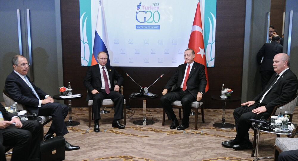 November 15, 2015. Russian President Vladimir Putin, second left, and Turkish President Recep Tayyip Erdogan, second right, during a meeting on the sidelines of the Group of 20 summit in Antalya, Turkey