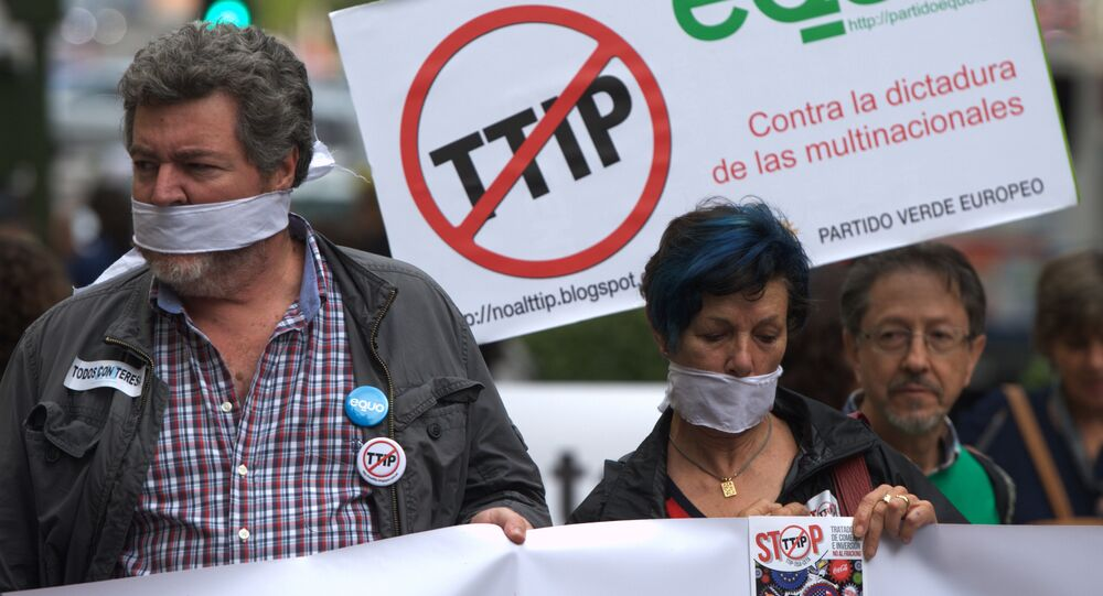 Protesters take part in demonstration against Transatlantic Trade and Investment Partnership (TTIP) in Madrid  (File)