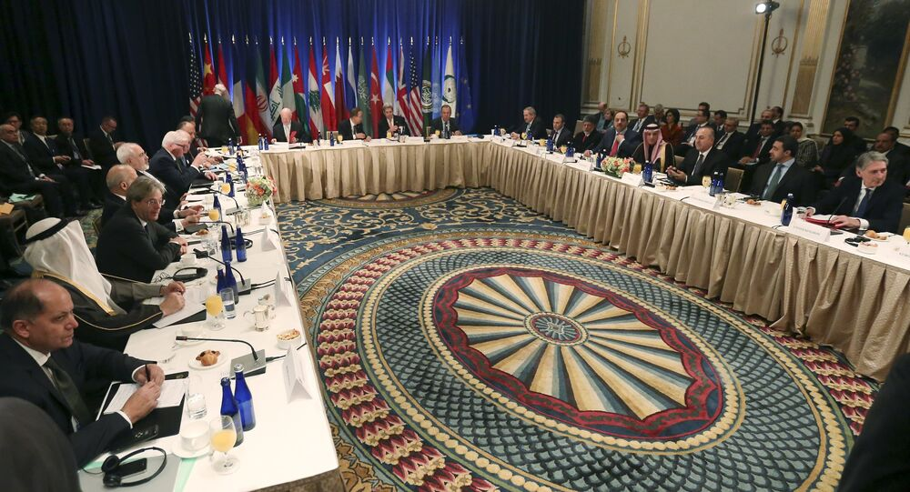 A meeting of Foreign Ministers about the situation in Syria is pictured at the Palace Hotel in the Manhattan borough of New York December 18, 2015