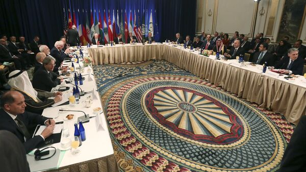 A meeting of Foreign Ministers about the situation in Syria is pictured at the Palace Hotel in the Manhattan borough of New York December 18, 2015 - Sputnik International
