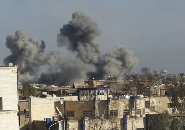 The US-led coalition airstrike in Ramadi, the capital of Iraq's Anbar province, 70 miles (115 kilometers) west of Baghdad, Iraq.