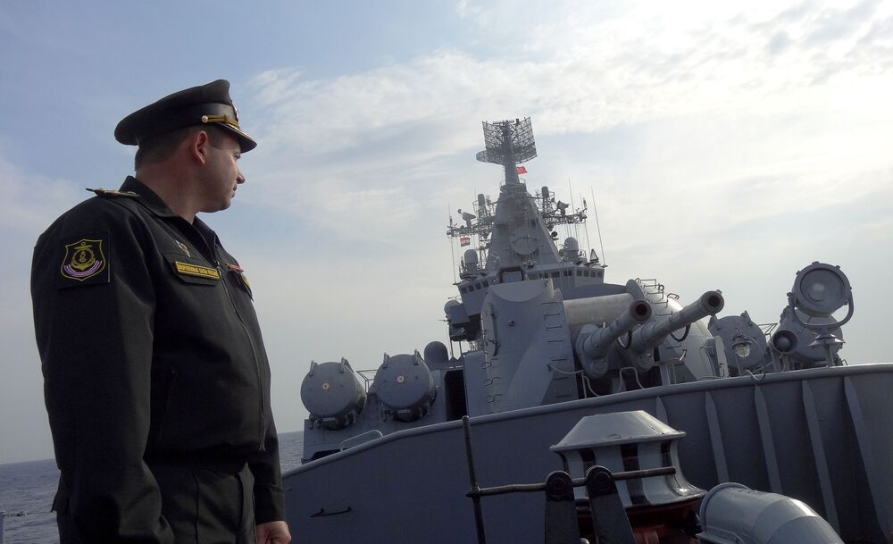 Russian Naval Power: Missile Cruiser Moskva Guards Syrian Shores