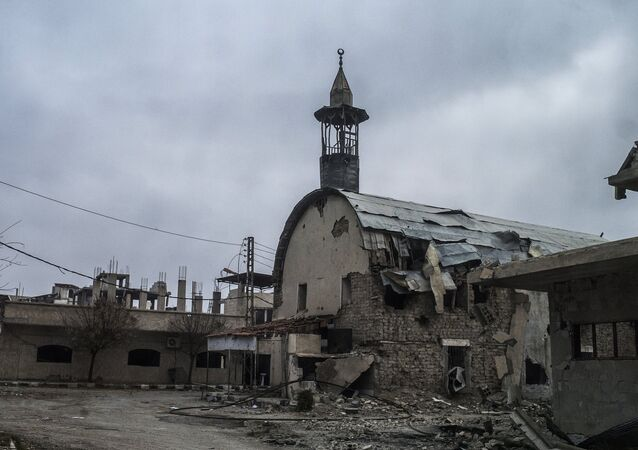 A mosque at the Marj al-Sultan military airbase, captured by the Syrian Arab Army (SAA), in south-eastern Damascus