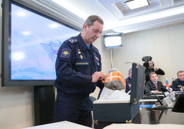 Chairman of the Air Accident Investigation Commission Nikolai Primak at the briefing on the start of decoding and analyzing of the flight data recorders from the Su-24M plane downed by a Turkish fighter over Syria on November 24, 2015