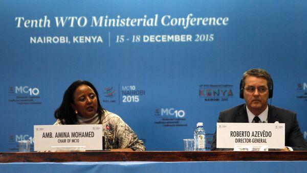 The Kenyan Foreign Affairs Cabinet Secretary Amina Mohamed (L) and the Director General of the World Trade Organization (WTO) Roberto Azevedo attend the opening of the World Trade Organization (WTO) Summit in Nairobi, Kenya December 15, 2015 - Sputnik International