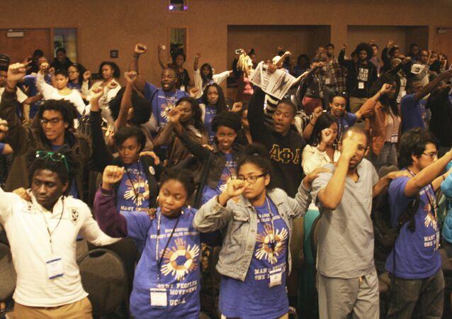 Afrikan Black Coalition members at the University of California-Santa Barbara