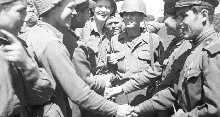 US soldiers congratulating Soviet officers with the victory in the Great Patriotic War of 1941-1945.