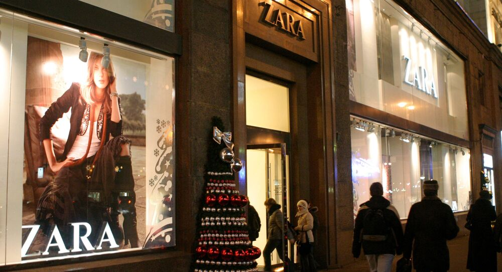 Christmas decorations outside the Zara boutique in Tverskaya, Moscow's main street