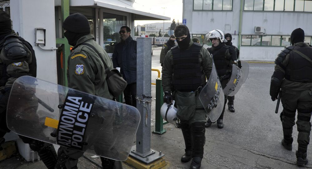 Riot police at the metro depot in Athens. (File)