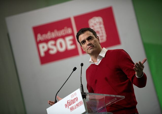 Leader of Spanish Socialist Party (PSOE) and candidate for the upcoming December 20 general election, Pedro Sanchez speaks during a campaign meeting at the Municipal Auditorium