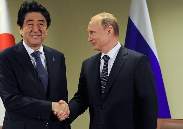 Russian President Vladimir Putin, right, meets with Japanese Prime Minister Shinzo Abe.