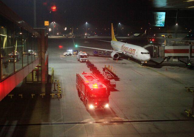A fire truck is seen at Sabiha Gokcen Airport