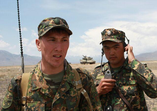 Drill of Kyrgyzstan's tank regiment