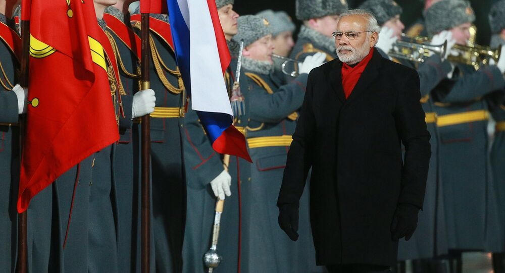 Prime Minister of India Narendra Modi arrives in Moscow