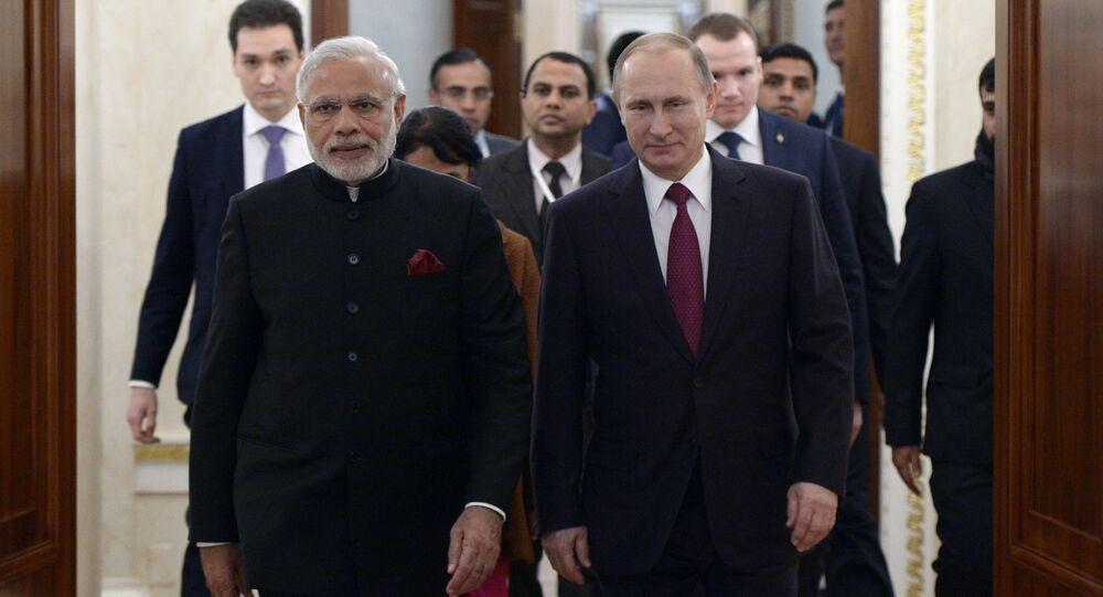 Vladimir Putin meets with Indian Prime Minister Narendra Modi