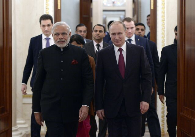 Vladimir Putin meets with Indian Prime Minister Narendra Modi
