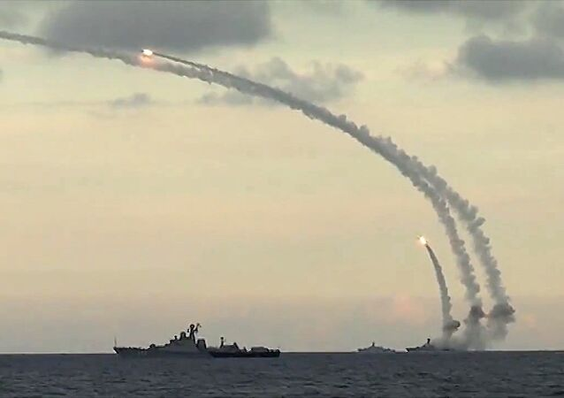 Ships from Russia's Caspian Flotilla launching Kalibr-NK cruise missiles against Daesh targets in Syria. File photo