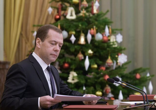 December 24, 2015. Russian Prime Minister Dmitry Medvedev chairs a meeting of the Russian Government at the Government House in Moscow