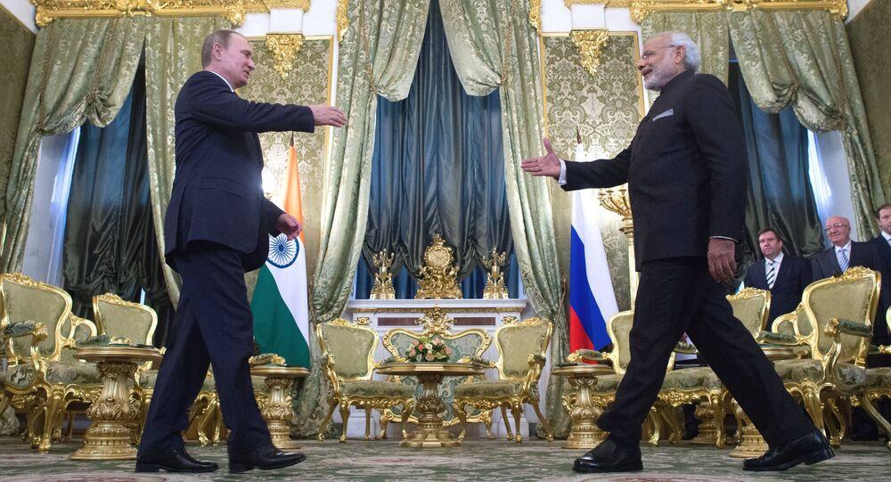 Russian President Vladimir Putin (left) meeting with Indian Prime Minister Narendra Mod in the Kremlin, December 24, 2015