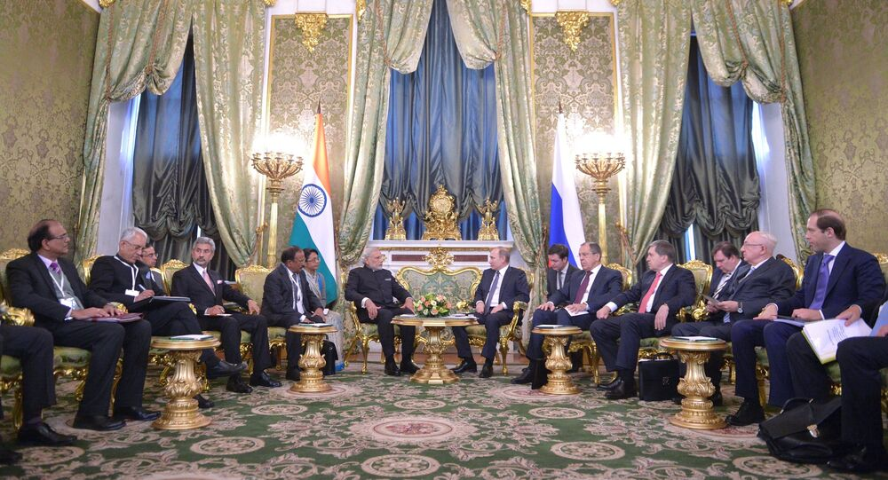Russian President Vladimir Putin meets with Indian Prime Minister Narendra Modi