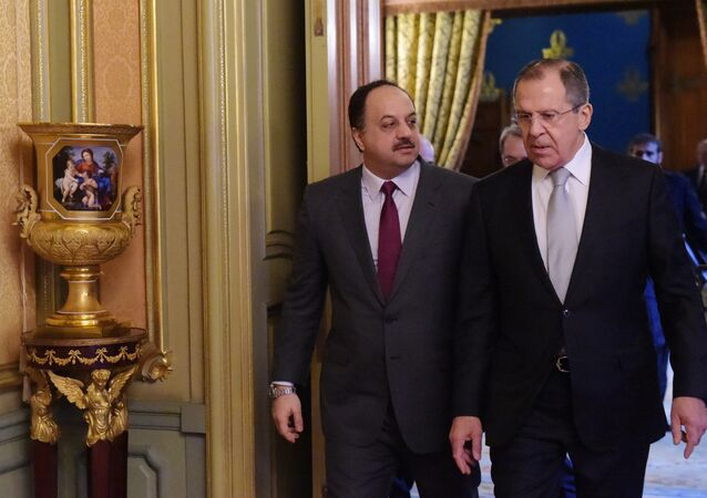 From left: Minister of Foreign Affairs of Qatar Khalid bin Mohammad Al Attiyah and Russian Foreign Minister Sergei Lavrov before the talks in Moscow