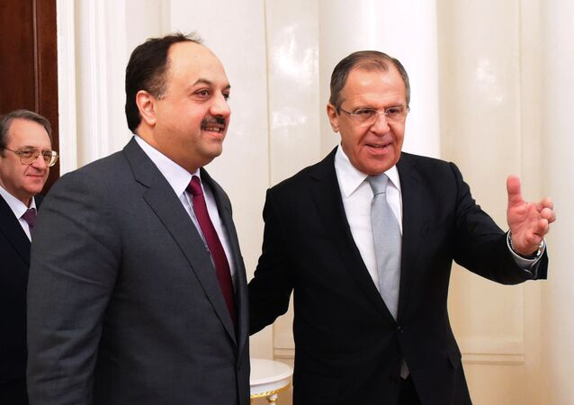 Minister of Foreign Affairs of Qatar Khalid bin Mohammad Al Attiyah and Russian Foreign Minister Sergei Lavrov