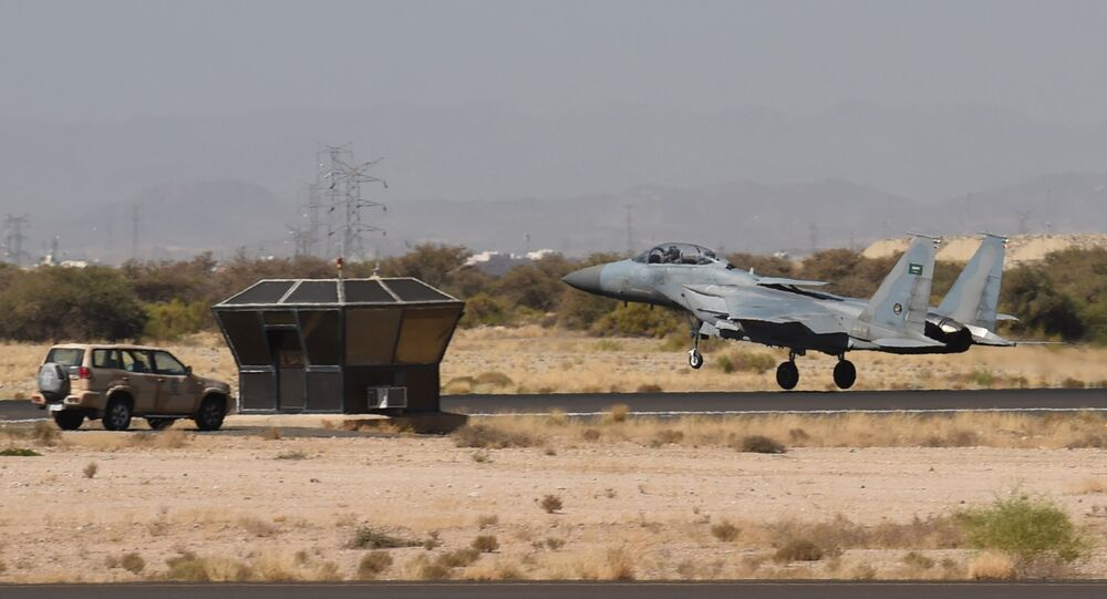 A picture taken on November 16, 2015 shows a Saudi F-15 fighter jet landing at the Khamis Mushayt military airbase, some 880 km from the capital Riyadh