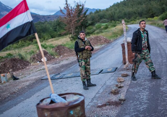 Syrian soldiers at a check point not far from Kesab, seized by Islamists, on the border with Turkey and the Latakiyah province (File)