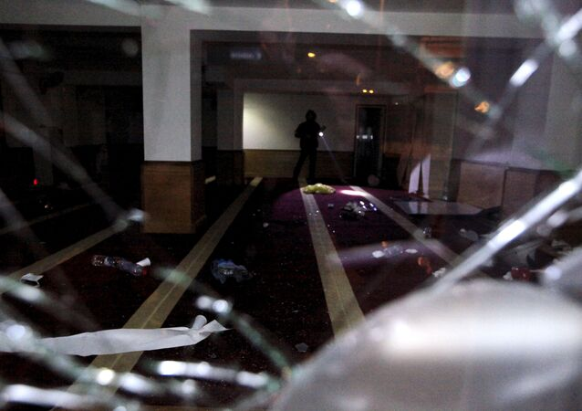 A picture taken on December 25, 2015 shows a devastated Muslim prayer hall in Ajaccio, after protesters vandalized it and tried to set fire to copies of Koran, near a working-class neighbourhood of Ajaccio where two firefighters and one police officer were injured last night during clashes, the French police and prefecture said.