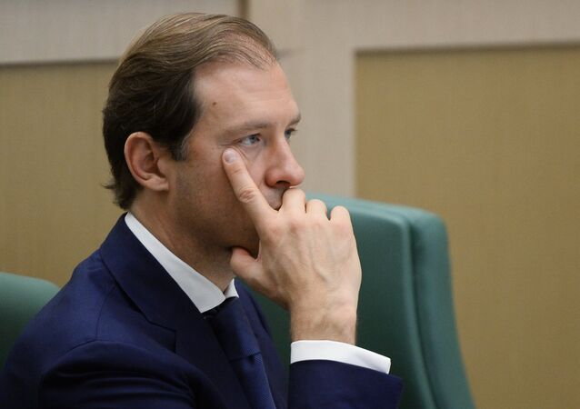 Russian Minister of Industry and Trade Denis Manturov at a Federation Council meeting